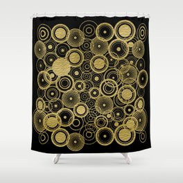 Circles Galore in Gold Shower Curtain