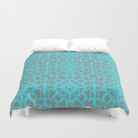 gray pattern Duvet Covers featuring Turquoise and Gray Pattern  by xiari
