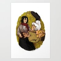 attack on titan Art Prints featuring A Nap on Titan by crowry