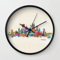 pittsburgh Wall Clocks featuring Pittsburgh Pennsylvania skyline by bri.buckley