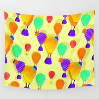 hot air balloons Wall Tapestries featuring Hot Air Balloons (Yellow) by Ingrid Castile