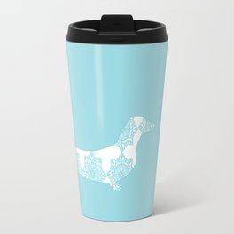 Blue Damask Daschund Travel Mug