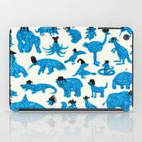 hats iPad Cases featuring Blue Animals Black Hats by WanderingBert / David Creighton-Pester