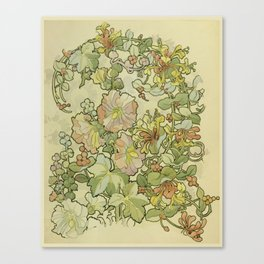 """Alphonse Mucha """"Printed textile design with hollyhocks in foreground"""" Canvas Print"""