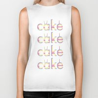 cake Biker Tanks featuring CAKE CAKE CAKE CAKE by thev clothing