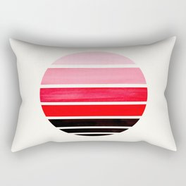Red Mid Century Modern Minimalist Circle Round Photo Staggered Sunset Geometric Stripe Design Rectangular Pillow
