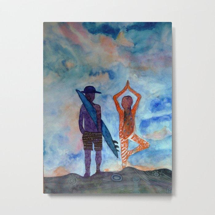 Yoga Surf Metal Print