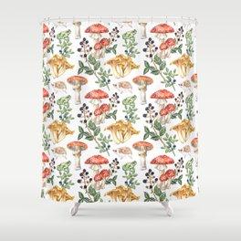 Woodland Mushrooms & Hedgehogs Shower Curtain