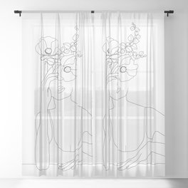 Minimal Line Art Woman with Flowers II Sheer Curtain