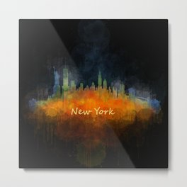New York City Skyline Hq V04 Metal Print