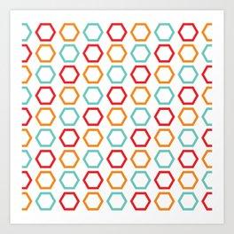 Red, Orange, & Blue Hexagons on White Art Print
