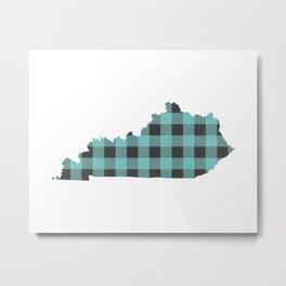 Kentucky Plaid in Mint Metal Print