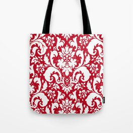 Paisley Damask Red and White Pattern Tote Bag