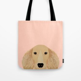 Doxie Portrait - Cream Longhaired dog design - cute dachshund face Tote Bag