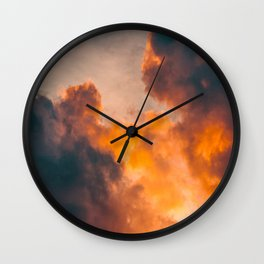 Beautiful Orange Whimsical Clouds Cotton Candy Texture Sky Cloud Photo Renaissance Painting Wall Clock