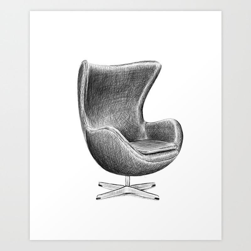 Arne Jacobsen Egg Chair.Arne Jacobsen Egg Chair Art Print By Nicklasheinjohansson Society6