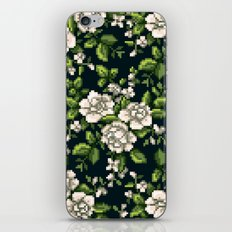 Pixel Floral - White on Black iPhone & iPod Skin