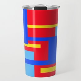 Rectangles - Blues, Yellow and Red Travel Mug