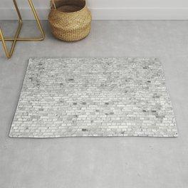 White Washed Brick Wall - Light White and Grey Wash Stone Brick Rug