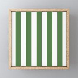 Fern green - solid color - white vertical lines pattern Framed Mini Art Print