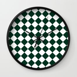 Diamonds - White and Deep Green Wall Clock