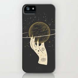 Mystic 94 Minimalist Magical Astrological Illustration Tattoo Hand Grasping Saturn Symbol Yellow Pastel, Gothic Boho Bohemian Style iPhone Case