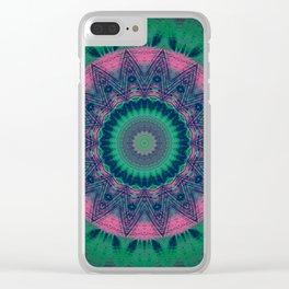 Bright Pink Green Mandala Clear iPhone Case