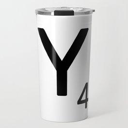 Letter Y - Custom Scrabble Letter Tile Art - Scrabble Y Initial Travel Mug