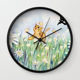 cute cat frolicking with chicks Wall Clock