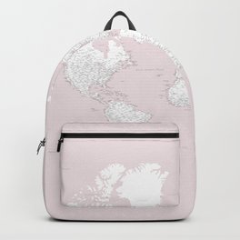 World map, highly detailed in dusty pink and white, square Backpack