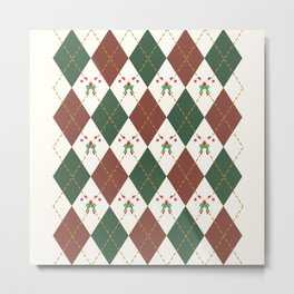 Christmas Sweater Pattern Candy cane Metal Print