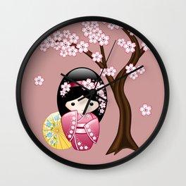 Japanese Spring Kokeshi Doll on Pink Wall Clock