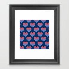 Polygon Heart Seamless Pattern Framed Art Print