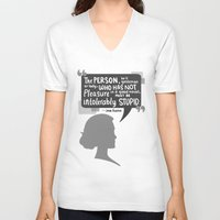 jane austen V-neck T-shirts featuring [Jane Austen] Book Lover by samarasketch