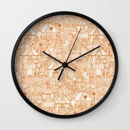 retro circus orange ivory Wall Clock
