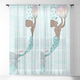 Beautiful Black Mermaid Sheer Curtain