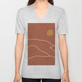 Minimal Abstract Art Landscape 2 Unisex V-Neck