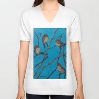 converse V-neck T-shirts featuring Sparrows Converse by Suzy Kitman Fine Art