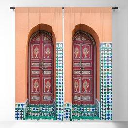 Moroccan Tile Mosaic Door in Marrakech, Morocco Blackout Curtain