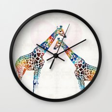 Colorful Giraffe Art - I've Got Your Back - By Sharon Cummings Wall Clock