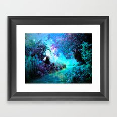 Fantasy Garden Path Turquoise Purple Framed Art Print