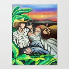 Amantes en el campo (Lovers in the country) Cuban art by Miguez Canvas Print
