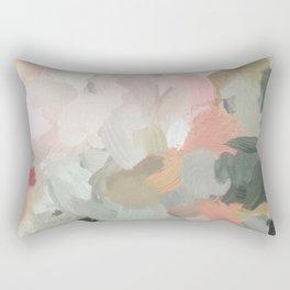 Forest Green Fuchsia Blush Pink Abstract Flower Spring Painting Art Rectangular Pillow