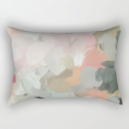 Forest Green Fuchsia Blush Pink Abstract Flower Spring Painting Art Rectangular Pillow