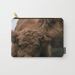 Scottish Highland Cattle Calves - Babies playing Carry-All Pouch