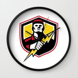 Electrician Thunderbolt Crest Mascot Wall Clock