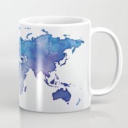 Blue World Map 02 Coffee Mug