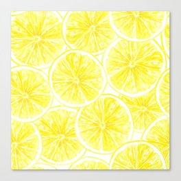 Lemon slices pattern watercolor Canvas Print