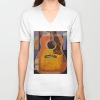 guitar V-neck T-shirts featuring Guitar by Michael Creese