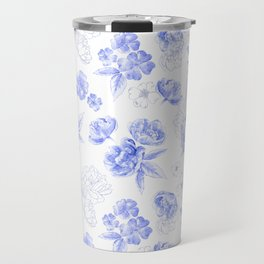 Blue Flowers Pattern Travel Mug